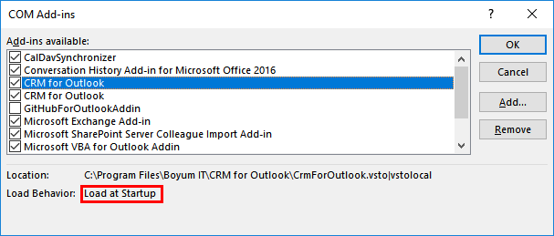 CRM for Outlook Add-In keeps disabling – Boyum Helpcenter