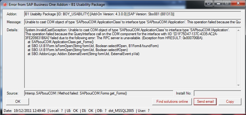 SAP issue - Information about bug: